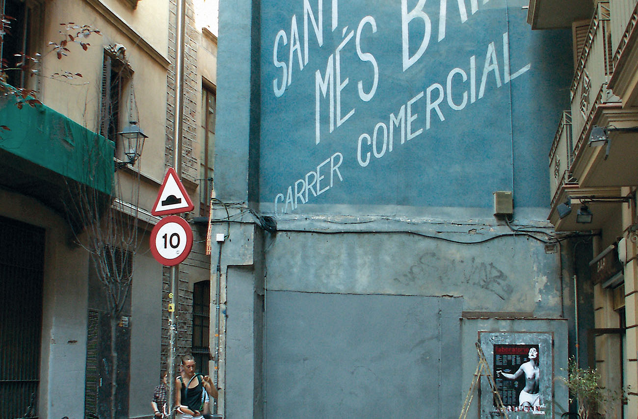 Signage in alley of the Bari Gothic, circa 2005